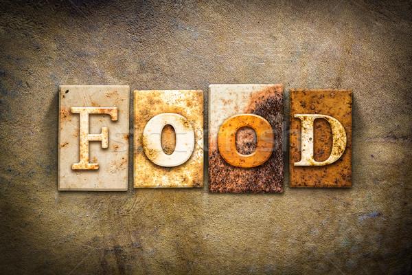 食品 革 言葉 書かれた さびた ストックフォト © enterlinedesign