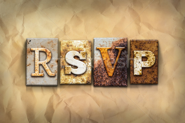 RSVP Concept Rusted Metal Type Stock photo © enterlinedesign