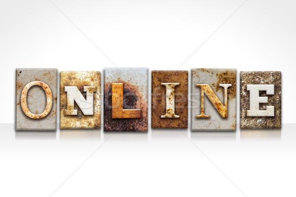 Stockfoto: Online · geïsoleerd · witte · woord · geschreven