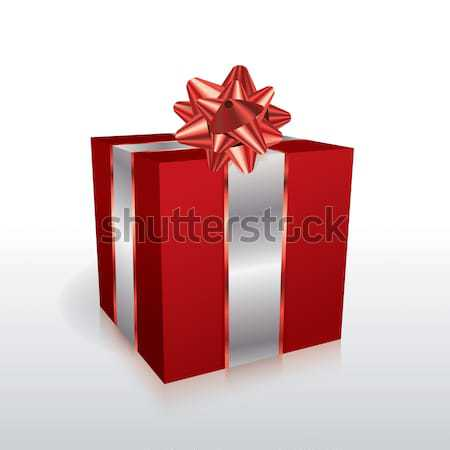 Red Christmas Present with Bow Illustration Stock photo © enterlinedesign