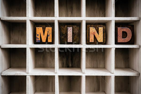 Umysł typu szuflada słowo Zdjęcia stock © enterlinedesign