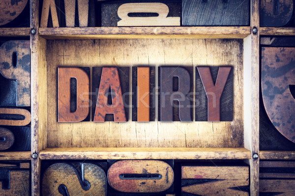 Dairy Concept Letterpress Type Stock photo © enterlinedesign