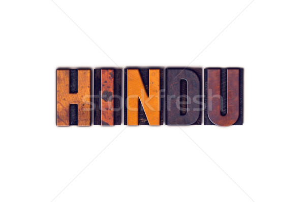Hindu Concept Isolated Letterpress Type Stock photo © enterlinedesign