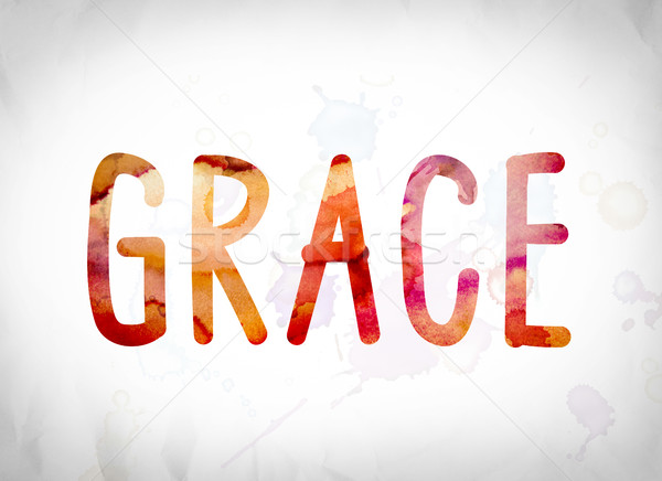 Grace Concept Watercolor Word Art Stock photo © enterlinedesign
