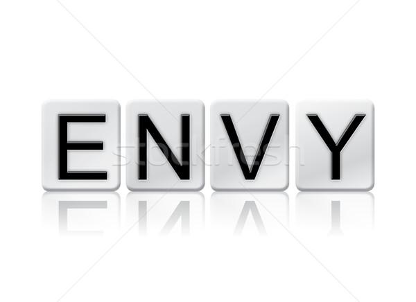 Invidiare isolato piastrellato lettere parola scritto Foto d'archivio © enterlinedesign