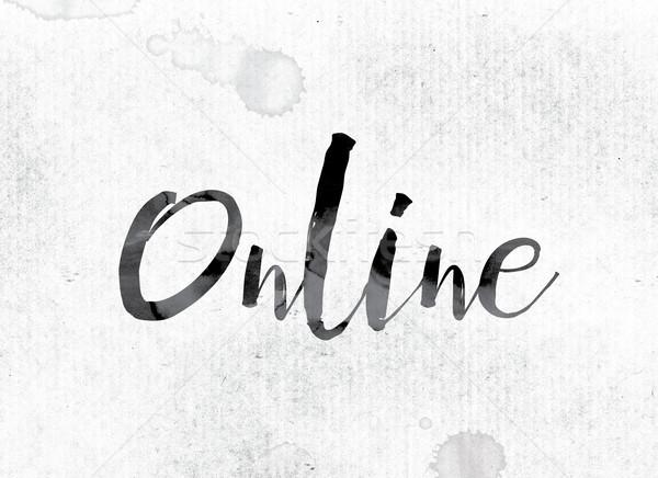 Online festett tinta szó vízfesték fehér Stock fotó © enterlinedesign