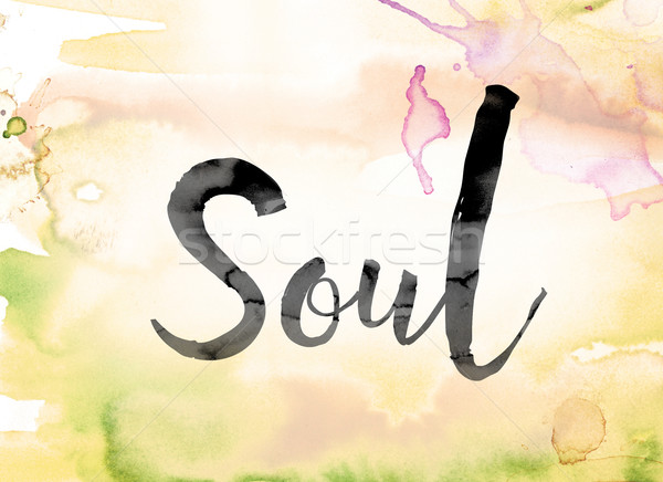 Soul Colorful Watercolor and Ink Word Art Stock photo © enterlinedesign