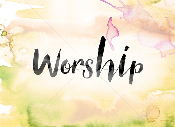 Worship Colorful Watercolor and Ink Word Art Stock photo © enterlinedesign