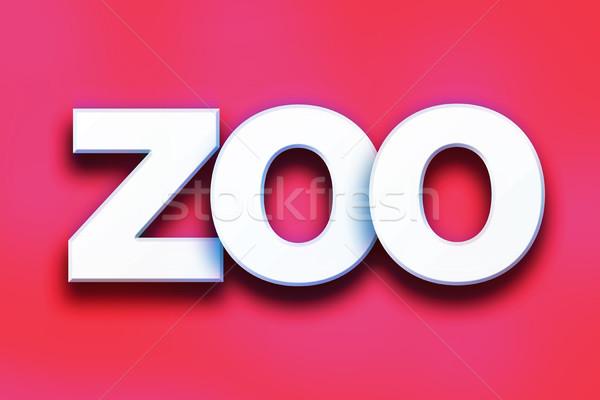 Hayvanat bahçesi renkli kelime sanat yazılı beyaz Stok fotoğraf © enterlinedesign