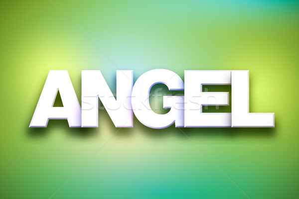 Angel Theme Word Art on Colorful Background Stock photo © enterlinedesign