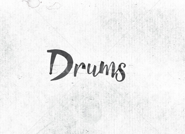 Drums geschilderd inkt woord zwarte aquarel Stockfoto © enterlinedesign
