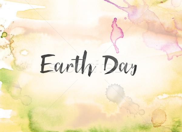 Föld napja vízfesték tinta festmény ünnep írott Stock fotó © enterlinedesign