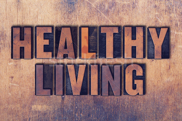 Sağlıklı yaşam kelime ahşap sözler yazılı Stok fotoğraf © enterlinedesign