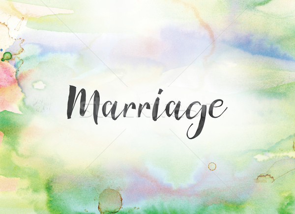 Marriage Concept Watercolor and Ink Painting Stock photo © enterlinedesign