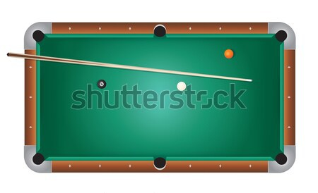 Realistic Billiards Pool Table Green Felt Illustration Stock photo © enterlinedesign