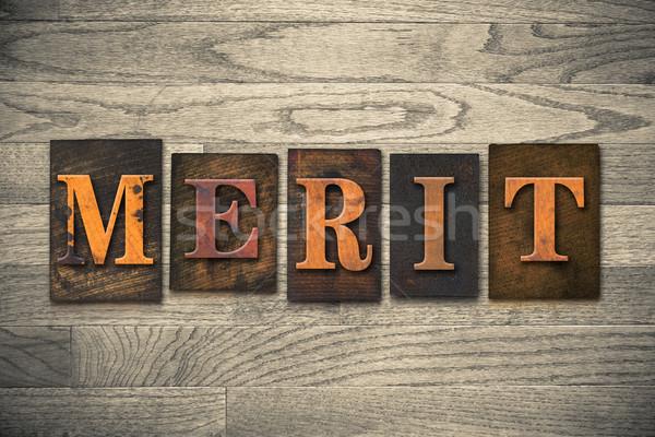 Merecer palabra escrito vintage Foto stock © enterlinedesign
