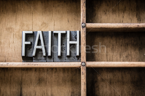 Faith Letterpress Type in Drawer Stock photo © enterlinedesign