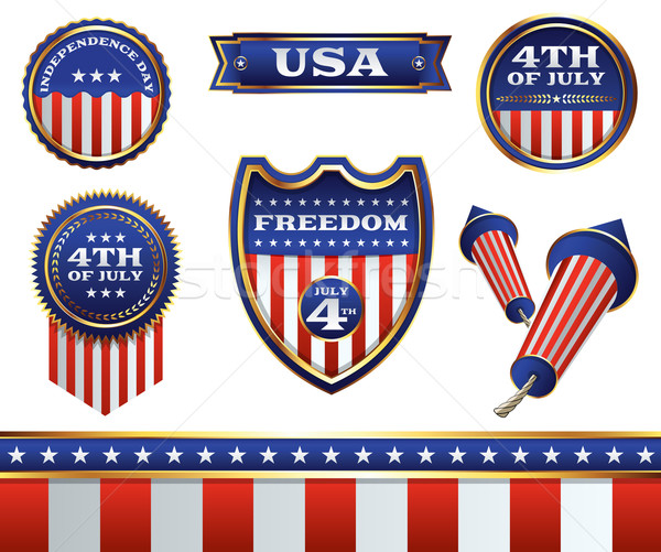 4th of July Badges and Elements Illustration Stock photo © enterlinedesign