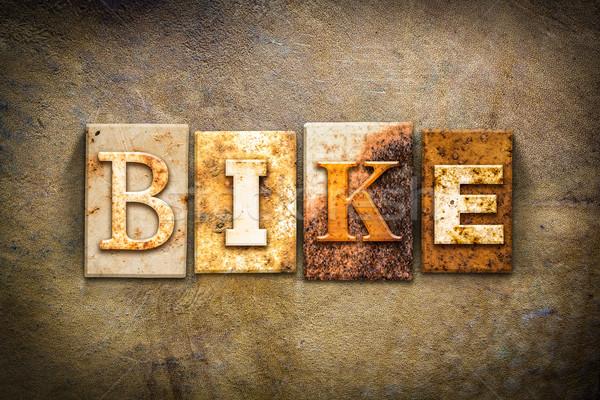 Bisiklet deri kelime yazılı paslı Stok fotoğraf © enterlinedesign