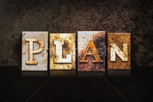 Stock photo: Plan Letterpress Concept on Dark Background