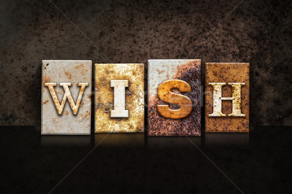 Wish Letterpress Concept on Dark Background Stock photo © enterlinedesign