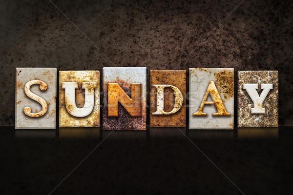 Sunday Letterpress Concept on Dark Background Stock photo © enterlinedesign