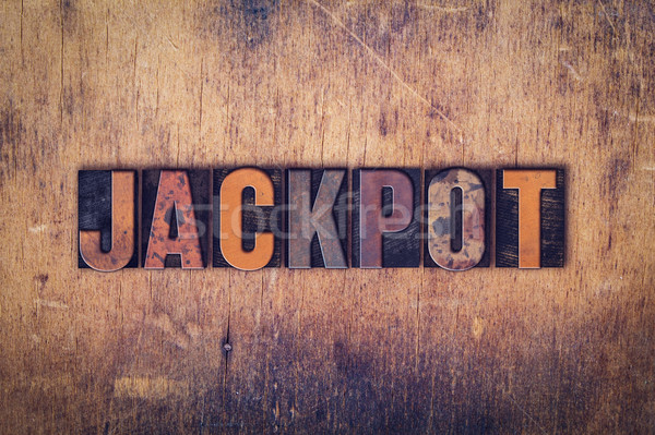 Jackpot bois type mot écrit Photo stock © enterlinedesign