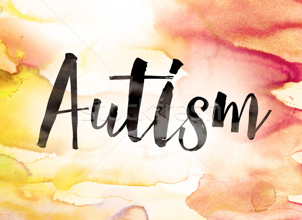 Autismo aquarela palavra escrito preto pintar Foto stock © enterlinedesign