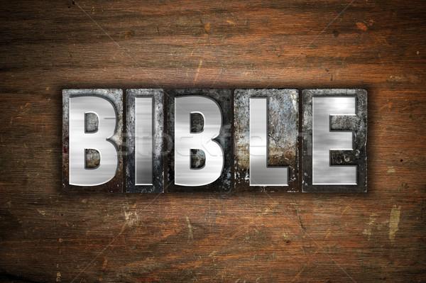 Bible metal tipo parola scritto Foto d'archivio © enterlinedesign