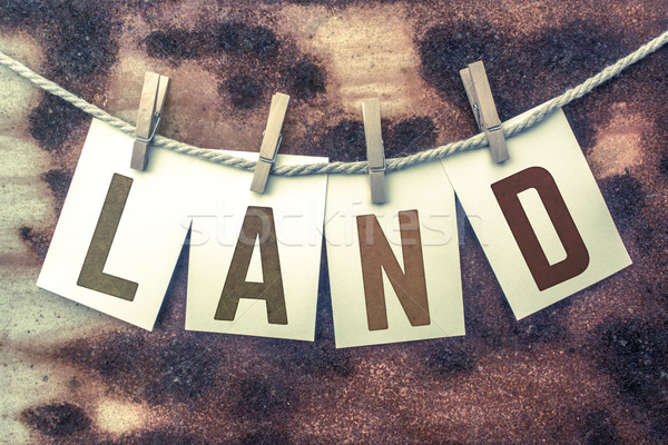Land Concept Pinned Stamped Cards on Twine Theme Stock photo © enterlinedesign