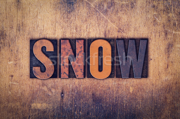 Snow Concept Wooden Letterpress Type Stock photo © enterlinedesign
