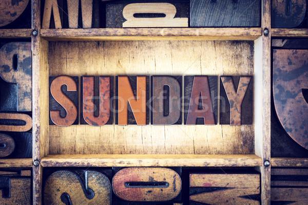 Sunday Concept Letterpress Type Stock photo © enterlinedesign