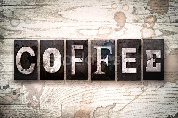 Caffè metal tipo parola scritto Foto d'archivio © enterlinedesign