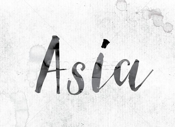 Asie peint encre mot couleur pour aquarelle blanche Photo stock © enterlinedesign