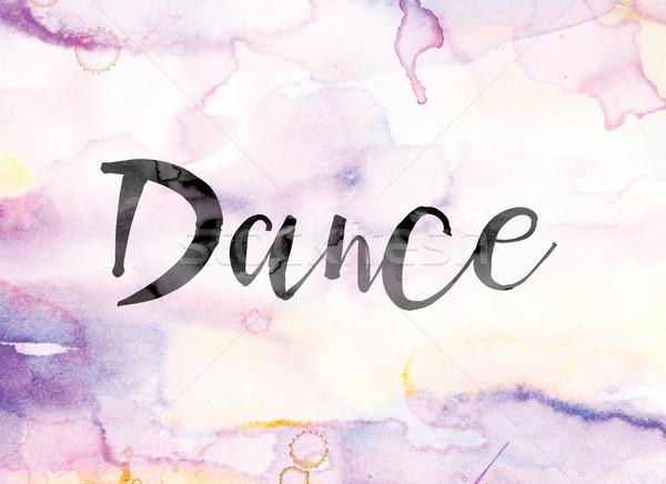 Dans renkli suluboya mürekkep kelime sanat Stok fotoğraf © enterlinedesign