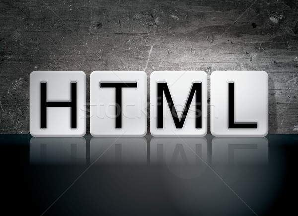 Html carrelage lettres mot écrit blanche Photo stock © enterlinedesign