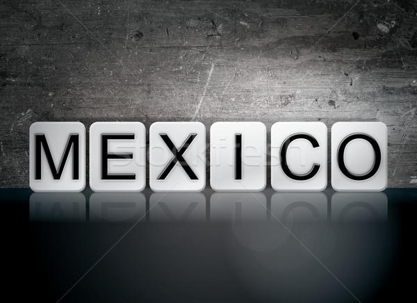Мексика плиточные письма слово написанный белый Сток-фото © enterlinedesign