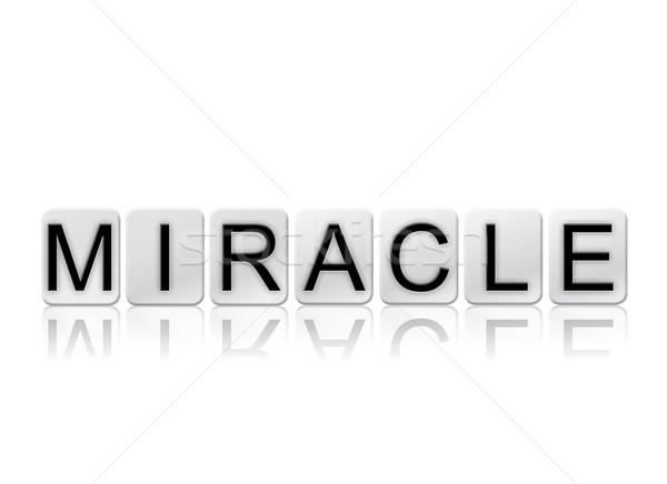 Miracle isolé carrelage lettres mot écrit Photo stock © enterlinedesign