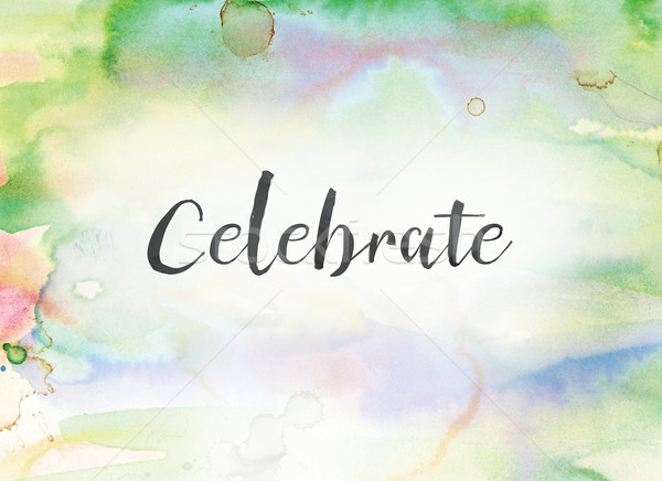 Celebrate Concept Watercolor and Ink Painting Stock photo © enterlinedesign
