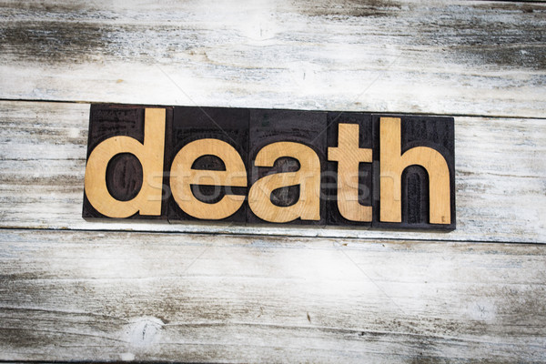 Death Letterpress Word on Wooden Background Stock photo © enterlinedesign