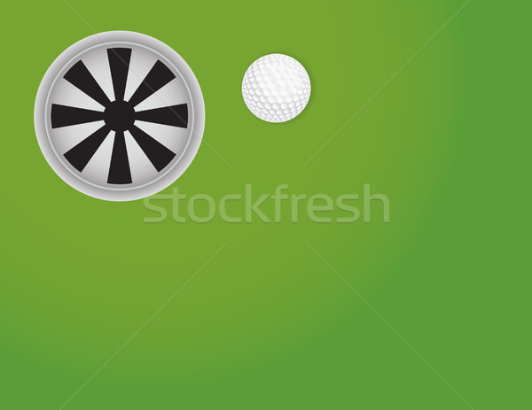 Golf Green with Ball and Cup Background Illustration Stock photo © enterlinedesign