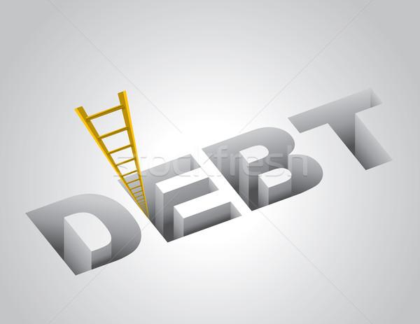 Klimmen uit schuld financieren bank dollar Stockfoto © enterlinedesign