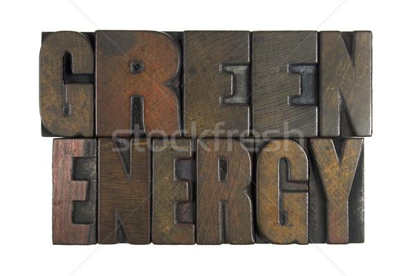 Groene energie geïsoleerd witte geschreven vintage Stockfoto © enterlinedesign