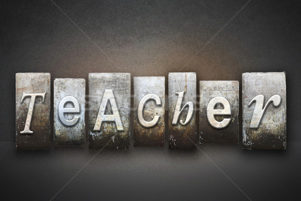 учитель слово написанный Vintage тип Сток-фото © enterlinedesign
