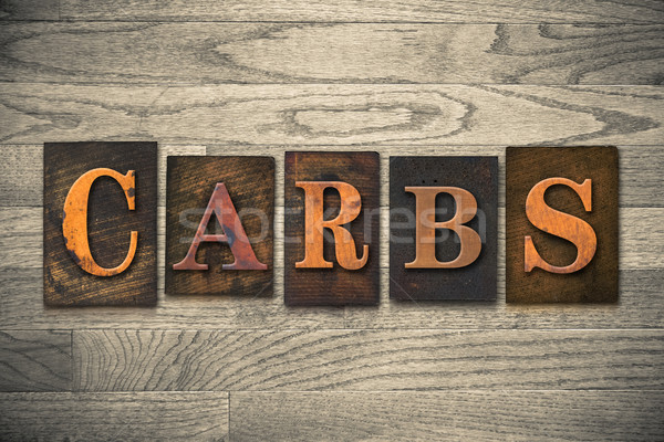 Carbs Wooden Letterpress Theme Stock photo © enterlinedesign