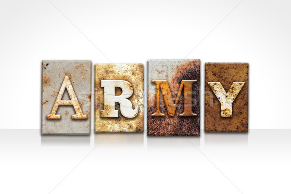 Army Letterpress Concept Isolated on White Stock photo © enterlinedesign
