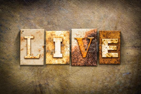 Live Concept Letterpress Leather Theme Stock photo © enterlinedesign