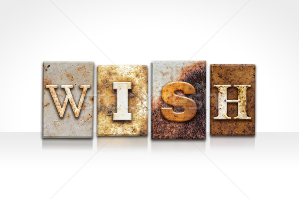 Wish Letterpress Concept Isolated on White Stock photo © enterlinedesign