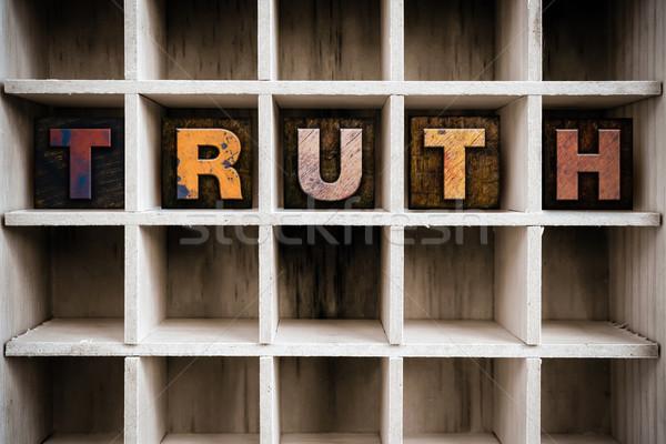 Verità legno tipo cassetto parola Foto d'archivio © enterlinedesign