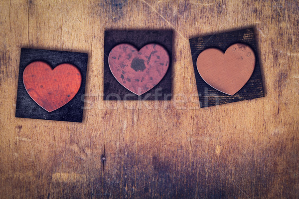 3 Wooden Letterpress Hearts Stock photo © enterlinedesign